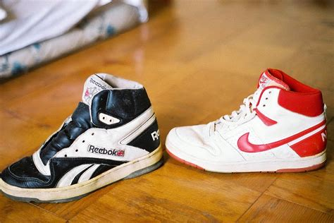 classic Reebok BB-5000 and Nike Air Force basketball shoes
