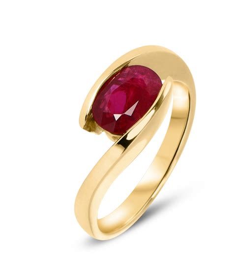 Bague Or Jaune Rubis Ovale 8x6mm Ref