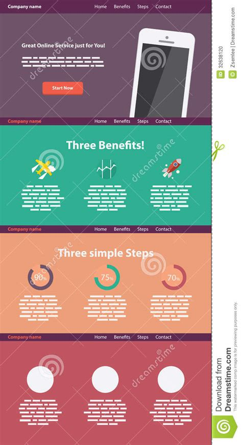 One Page Flat Style Website Template Stock Vector
