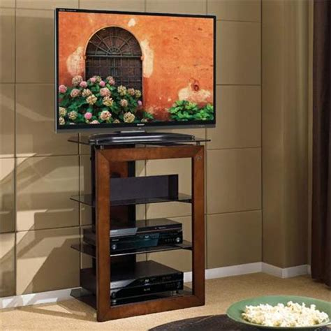 Bello Solid Wood Front Audio Video Tower with Tinted Glass