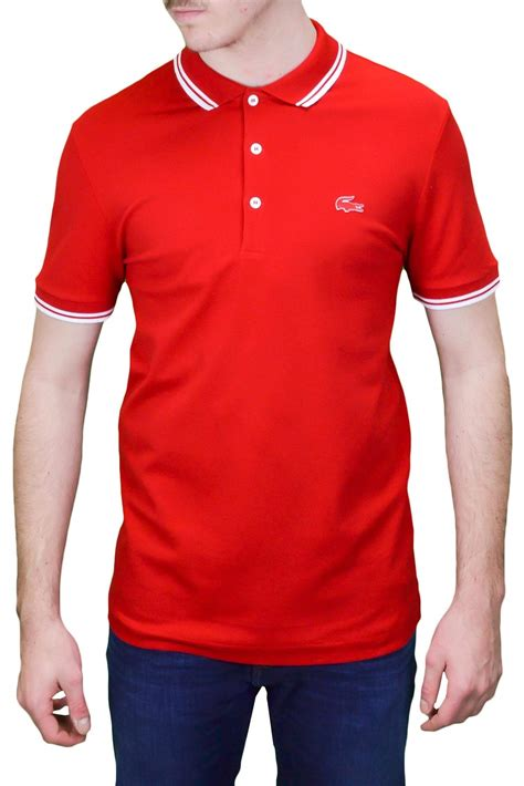 Polo 3 boutons Lacoste rouge pour homme - Toujours au