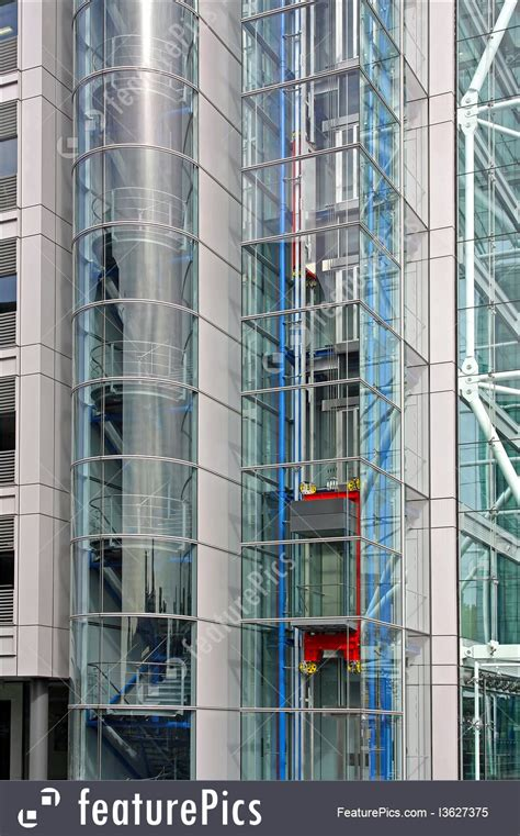 Architectural Details: Glass Elevator - Stock Image